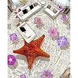HD transparente estrella de mar flor impermeable baño cocina balcón PVC papel pintado autobiográfico etiqueta de la pared pintura de suelo 220x140cm