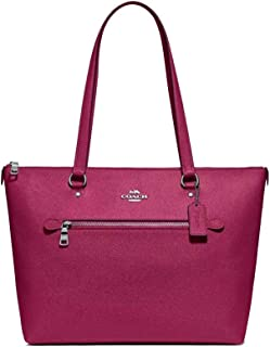 Coach Crossgrain Leather Gallery Tote Purse - #F79608 - Silver/Dark Fuchsia