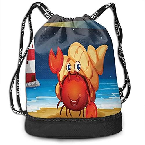 KINGAM Mochilas con cordón, ilustración de criatura marina bajo una concha en la playa por la noche con un faro, ajustable