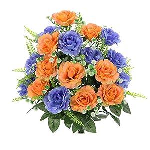 Admired By Nature ABN1B002-PH-BL Artificial Rose Flower Bush, 4. Peach-Blue