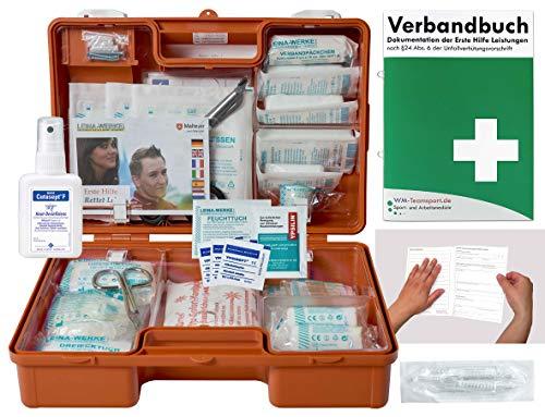 Verbandskoffer/Verbandskasten (K) Typ C - Erste Hilfe nach DIN 13157 für Betriebe -DSGVO- INKL. PERFORIERTEM VERBANDBUCH + Hände-Antisept-Spray