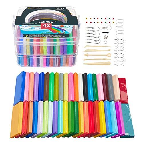 Polymer Ton - 42 Farben 2.78LB/1260g Polymer Clay Ofen Backen Bastelset Kinder und Werkzeuge,Modellierung Set DIY Basteln Scrapbooking für Kinder (42 Colour)