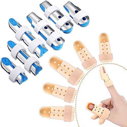 Juego de 11 Piezas Férulas de Dedo, Incluye 6 Soportes de Dedo de Metal Estabilizador de Dedo con Espuma Suave y 5 Piezas Férulas Plásticas de Dedos Soporte de Dedos Mazo, Tamaños Diferentes