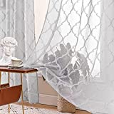 MIULEE 2 Piezas Cortinas Translúcidas Visillos Diseño Moderno Cortina Transparente para Salon Dormitorio Habitacion Sala de Estar Ventana Comedor 140x260 cm Gris