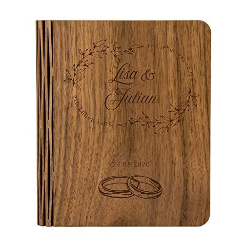 Led-boekenlamp van hout met gravure: nachtlampje gepersonaliseerd met naam en datum, draadloos, cadeau-idee voor bruiloft, persoonlijk huwelijksgeschenk