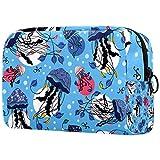 Bolsa de maquillaje cosmética bolsa de viaje organizador de artículos de tocador, patrón de medusas marinas, bajo el agua
