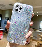 Compatible with iPhone 12 Pro Max Liquid Glitter Case 2020-with Moving Shiny Quicksand Floating Waterfall,Double Protection with PC+TPU Layer Diamond Cute Cover for i Phone 12 Pro Max 6.7 inch-White