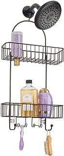 mDesign Bathroom Metal Wire Non Never Rusting Shower Caddy Baskets Storage Organizer Suction Cups Hooks Razor Holder Shampoo Storing organizing Conditioner, Shampoo Bottles - Bronze