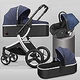 YZPTD 3 en 1 Carro de bebé, Plegable con una Mano, Cochecito de bebé con Cesta de Almacenamiento, Cochecito de Cochecito Compacto con Tapa de mosquitera y pie para recién Nacidos (Color : Azul)