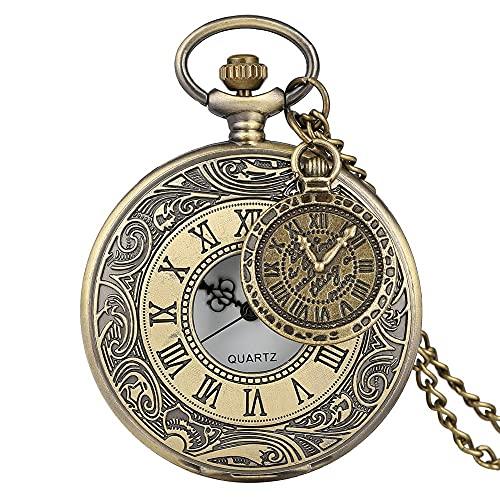 Reloj de bolsillo con colgante de latón estilo vintage de cobre steampunk y bronce hueco, para hombres y mujeres con accesorio (color 2)