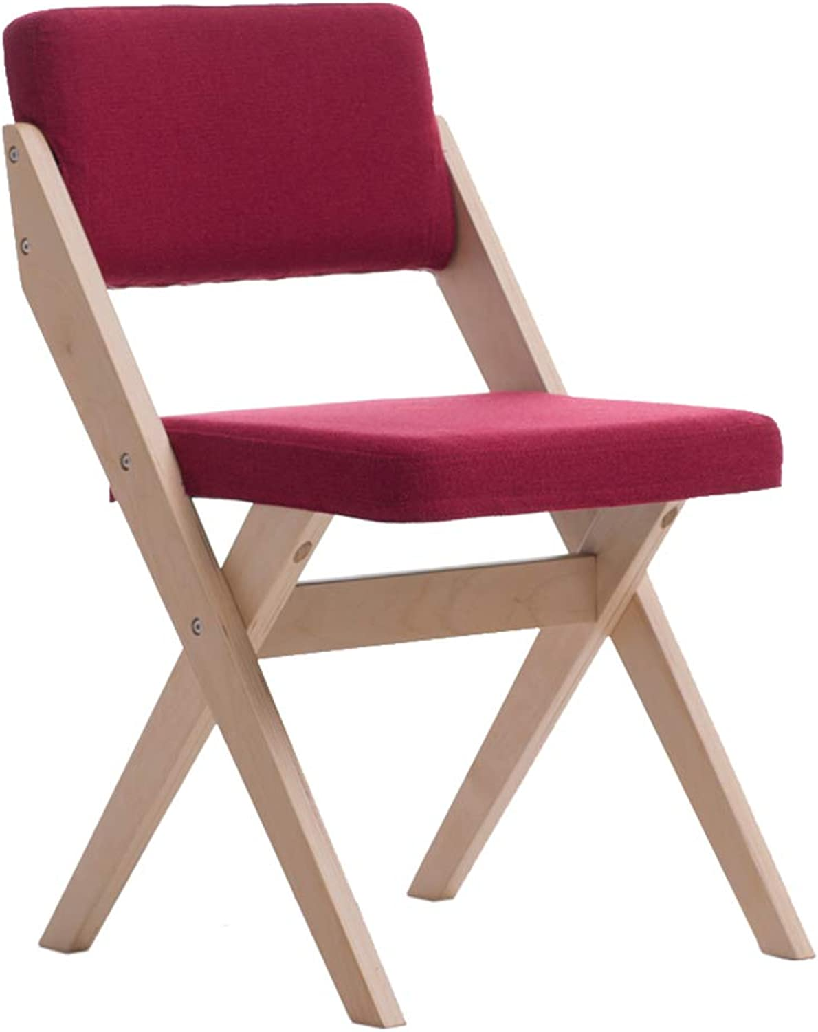 Folding Chair Solid Wood Back Support Furniture Desk Dining Chair Leisure Discussion Reception Chair - Dark Red