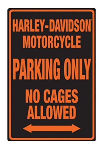 Harley-Davidson Embossed No Cages Packing Tin Sign, 12 x 18 inch 2010691