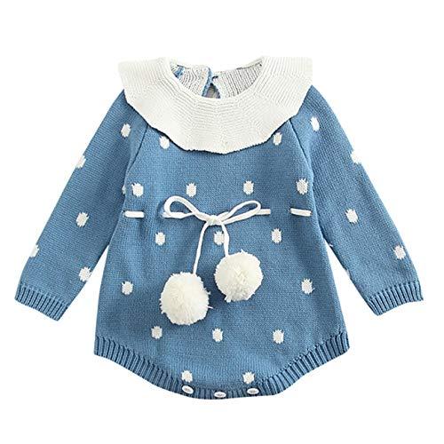 HCFKJ Ropa Bebe NiñA Invierno NiñO Manga Larga Camisetas BEB Conjuntos Moda Bebé ReciéN Nacido NiñO Chico NiñA Dot Punto Mameluco Body Ropa Crochet Trajes (0-3 Meses, Azul)