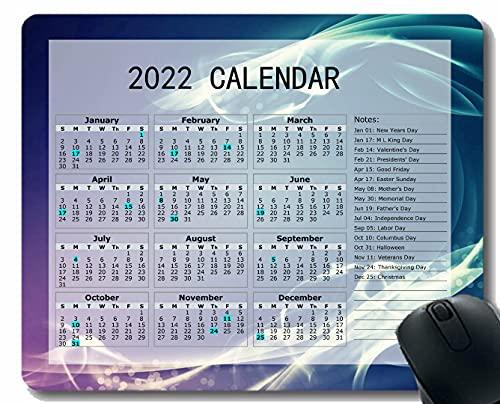 Gaming Mouse Pad 2022 año Calendario con Vacaciones, Onda de Humo Línea de luz Cuaderno de Escritorio Alfombrilla de ratón para Trabajar y Juegos