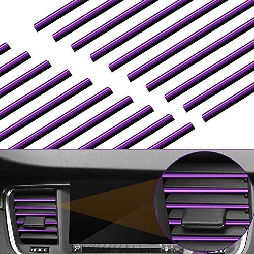 KINBOM 20 Piezas 20cm Tira Decorativa para Coche Ventilación, Molduras de Salida de Ventilación PVC Decoracion Coche Interior para Automoción Rejillas de Ventilación Rectas (Púrpura)