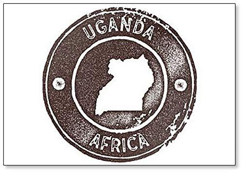Uganda Map Vintage Stamp Illustratie Klassieke Koelkast Magneet