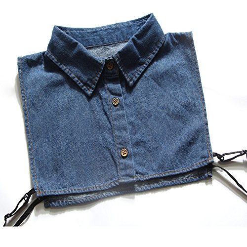 YAKEFJ - Blusa para mujer con cuello extraíble, de algodón