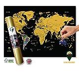 Global Walkabout - Carte du monde à gratter avec fond de drapeau - Poster de luxe format mini -...