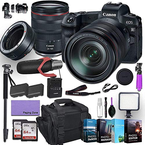 Canon EOS R Mirrorless Digital Camera with 24-105mm f/4L is USM Lens and Mount Adapter EF-EOS R kit Bundled with Deluxe Accessories (Pro Microphone, 4-Pack Photo Editing Software and More.)