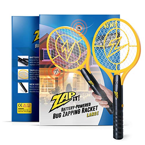 ZAP IT! Bug Zapper - Battery Powered (2xAA) Mosquito, Fly Killer and Bug Zapper Racket - 3,500 Volt - Safe to Touch (Large, Yellow)