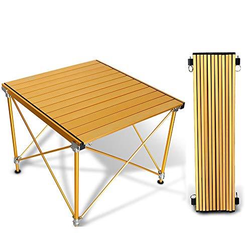 FEZBD Leichtgewichtiger, tragbarer Campingtisch, Aluminium-Klapptisch, kompakter Rolltisch mit Tragetasche für Outdoor, Camping, Wandern, Picknick, Rucksackreisen