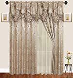 Traditional Jacquard Curtain Drape Set (2 Panels) 63 Inch Long, Includes attached Valance, Sheer Backing, 2 Tassels, Damask Floral Pattern Drape for Living and dining rooms, 647-63, Taupe Light Brown
