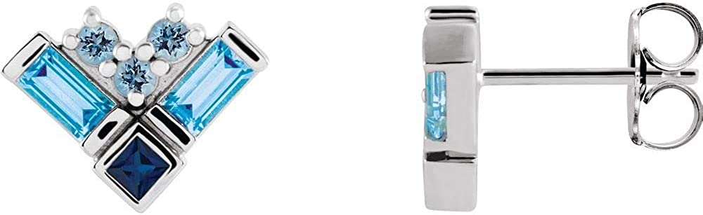 Blue Multi-Gemstone Cluster Stud Earrings (11mm x 8.7mm)