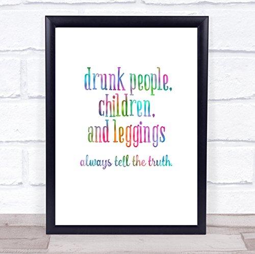Dronken Mensen Kinderen en Leggings Regenboog Citaat Print Framed Oak Medium