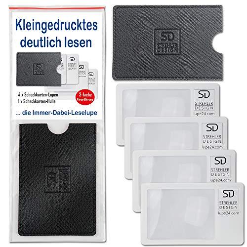 4 Scheckkarten-Lupen ultradünn mit 3-facher Vergrößerung und einer schicken Scheckkarten-Hülle für deutliches und klares Lesen