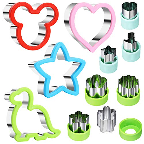 Sandwiches Cutter for Kids, Mickey Mouse & Dinosaur & Heart & Star Shapes 4 Sandwich Cutters and 7pcs Vegetable Cutters Fruit Cutters