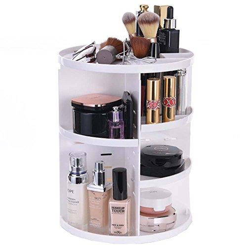 Teerfu Organiseur de maquillage à 360 degrés rotatif réglable multifonction Cosmétique étagère de rangement, taille compacte avec grande capacité, compatible avec différents types de produits cosmétiques et accessoires