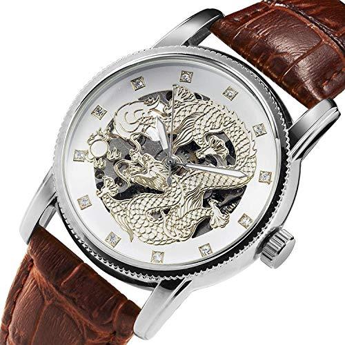Haonb Herrenuhren Persönlichkeit Zifferblatt Dynamische Spucke Perlen Mode Uhr Diamant wasserdichte Uhr, Zwischen Weißen Drachen Braunen Gürtel