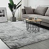 YLROMN Lammfellimitat Teppiche,Super Weiche Shaggy Teppich Für Wohnzimmer Shag Teppich Teppich Bodenmatte Für Schlafzimmer Non Slip Verschiedene Größen-Hellgrau 140x200cm