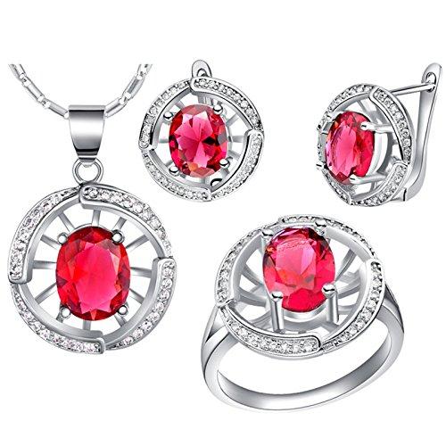 AnazoZ Schmuckset für Damen Kirstallanhänger Zirkonia Halskette, Ohrringe, Verlobungsringe für Hochzeit - Rot Größe 54 (17.2)