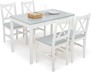 Meerveil Ensemble Table et 4 Chaises, Table de Salle à Manger Massif Pin Bois Style Classique pour Cuisine Salon Maison, 1...