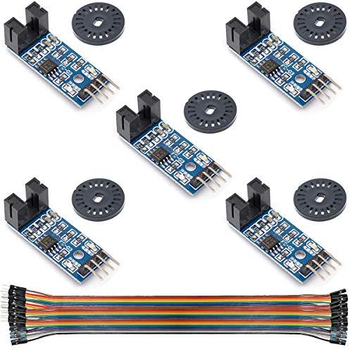 Youmile 5 Stücke Geschwindigkeitsmesssensor LM393 Geschwindigkeitsmessmodul Tacho Sensor Slot Typ IR Optokoppler für MCU RPI Arduino DIY Kit mit Encoder