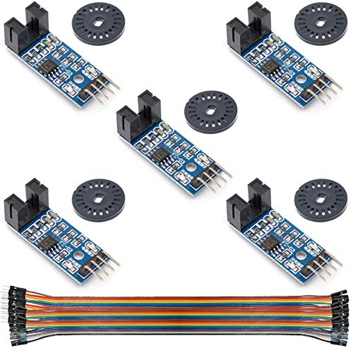 Youmile 5Pcs Speed Measuring Sensor LM393 Speed Measuring Module Tacho Sensor Slot Type IR Optocoupler for MCU RPI Arduino DIY Kit with Encoders