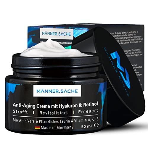 BIO-Aloe-Vera Anti Aging Creme für Männer 50ml - Antifaltencreme mit Soforteffekt - Vegane Gesichtscreme (Tagescreme & Nachtcreme) - Retinol, Hyaluron, Taurin, Vitamin A C E - Geschenke für Männer