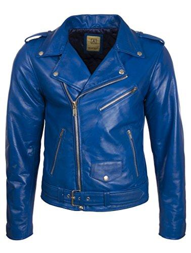 Aviatrix Herren Bikerjacke mit Gürtel aus echtem Rindsleder oder echtem Schaffell (N2KG)- Gr. 54 (Brust=54 zoll), Blau Schaffell Leder