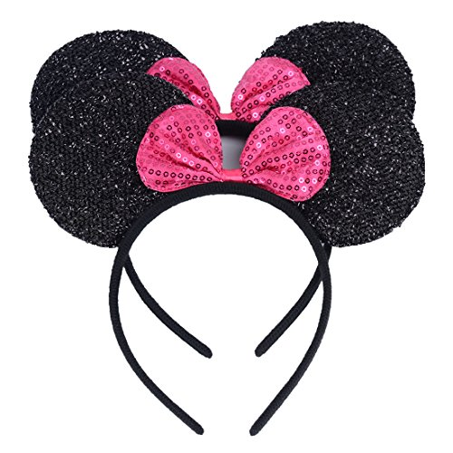Set of 2 Black Glitter Ears with Rose Sequin Bow Headband for Boys Girls Birthday Party Decorations (Black Sequin Rose)