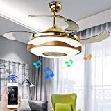 """A Million 42"""" Modern Ceiling Fan Light with Smart Bluetooth Music Player Chandelier Retractable Blades Remote Control Pendant with 7 Colors Dimmable LED Light Kit include"""
