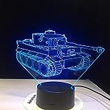 WxzXyubo Regalo de vacaciones del juguete de los niños del tanque LED de la luz de la noche 3D
