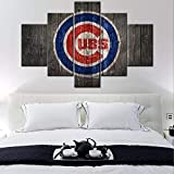Sports Canvas Wall Art Chicago Cubs Logo Painting USA Baseball Teams Art Decor Wall Poster 2016 World Series Picture 5 Large Panel Modern Home Decor Bedroom Wooden Framed Ready to Hang(60Wx40H inches)