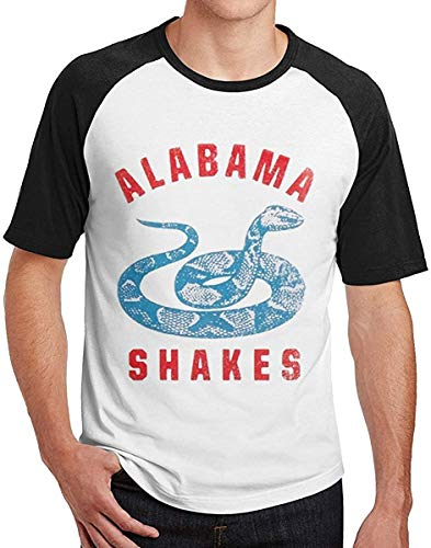 Alabama Shakes 2016 Tour Logo Men's Short Sleeve Raglan Baseball T-Shirt Casual Basic Printed Tee Tops,Black,Small