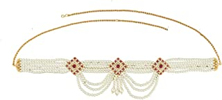 Anuradha Art Maroon Colour Studded Stone Pearls Beads Traditional Belly Chain Kamapr Patta for Women/Girls