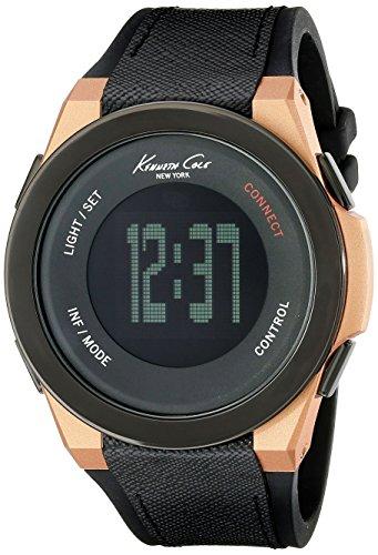 Kenneth Cole Herren Digital Quarz Uhr mit Leder, Kautschuk Armband 10022939_Negro