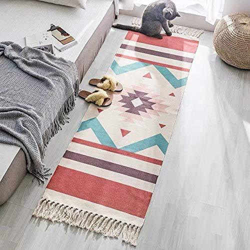SDFJKORetro Hand Woven Cotton Linen Carpet With Tassel Door Bedroom Tapestry Decorative Blanket Living Room Carpet,02,60x180