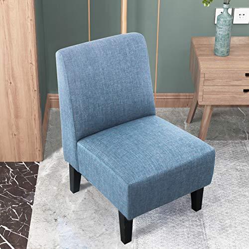 sogesfurniture Accent Stühle Küche Esszimmerstuhl Blau Wohnzimmer Eckstuhl Sessel mit Armlehnen & Rückenlehne BHEU-WH-5088