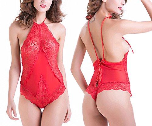 hoverwin Body Coquin pizzo sexy Erotique, dorso Nudo, laccio, Bodydoll, Bodysuit Lingerie Fiore Ricamo Armature Rosso, nera, grande taglia M a 3X L, rosso, M
