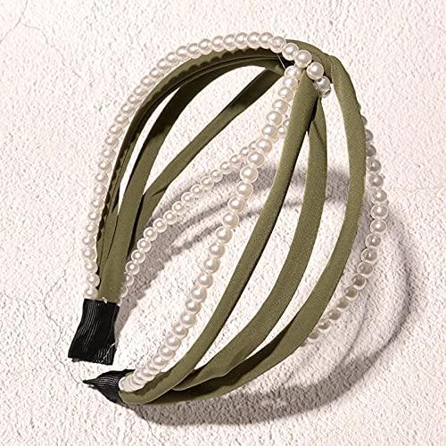 Fuduoduo Diademas para Mujer Turbantes,Diadema Cruzada Simple Perla-Verde,Cintas Pelo Mujer Elasticas PañUelos